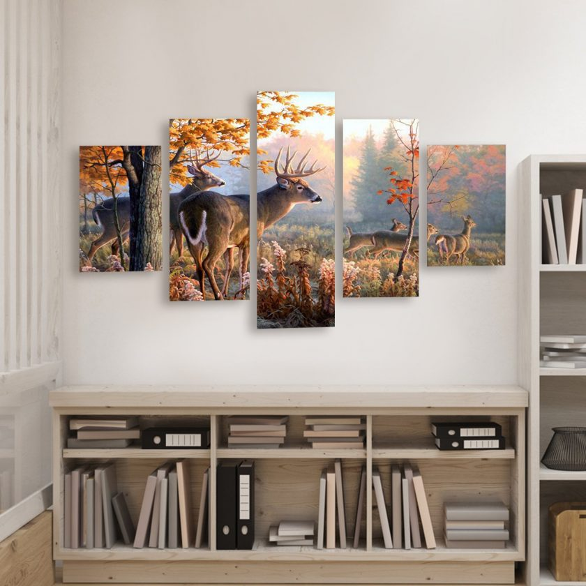Walls with Autumn Deer Art Canvas