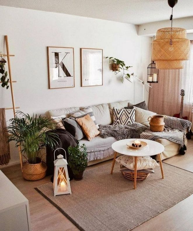 Living room decorated with throw pillows, rug and furniture