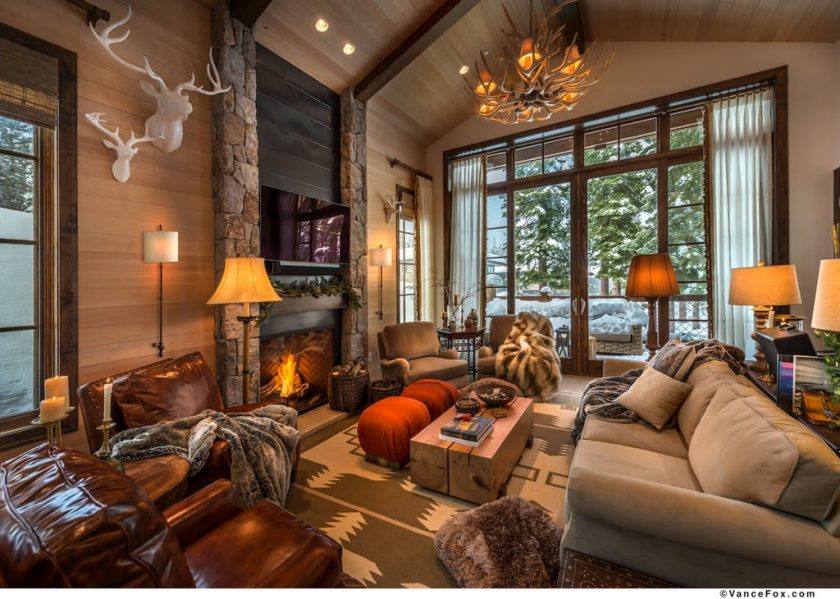 Good lighting that matches autumn-inspired living room
